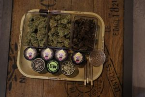 Cannabis Buds in Rolling Tray